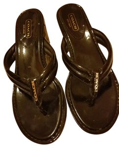 Coach BLACK PATENT LEATHER UPPER/BARK BROWN CC WEDGES Mules
