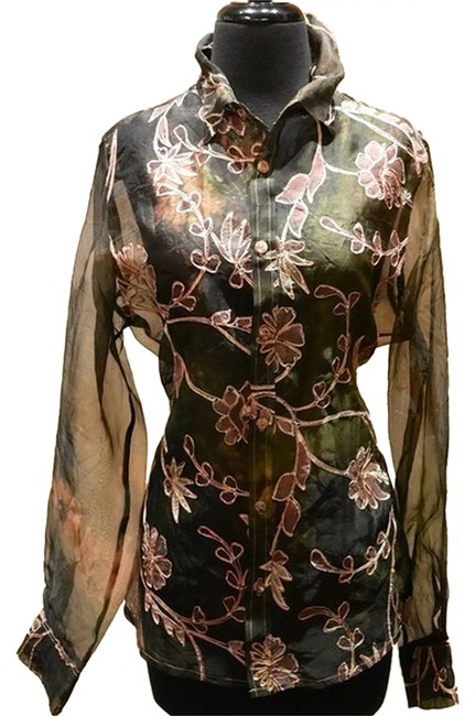 Item - Black/Peach/Pink Silk Long Sleeve Embroidered Blouse Size 10 (M)