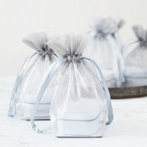 Silver Sheer Organza Wedding Favor Bags!!