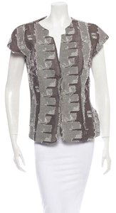 Piazza Sempione Abstract Print Fringe Taupe and Grey Blazer