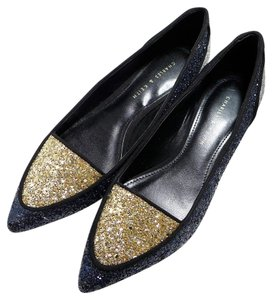 Charles & Keith Pointedtoe Glitter Slipon Pump Navy & Gold Multi Flats
