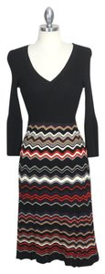 Nine West 70s Inspired Mad Men Missoni Knit Ribbed Knit Dress