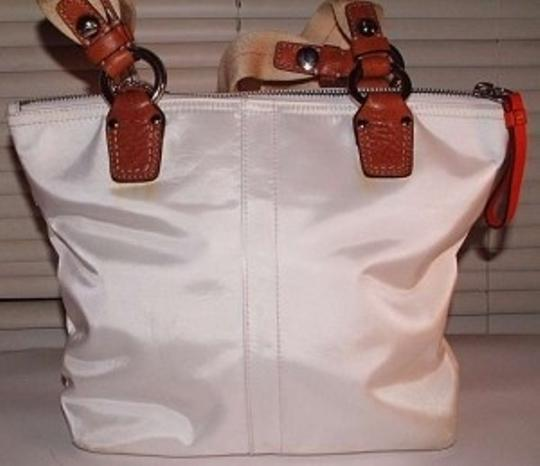 Coach Orange Sateen Handbag Purse Pocketbook Tote in white
