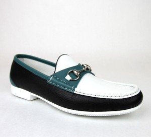 6662704c6b3 Gucci White Black Blue Horsebit Men s Leather Loafer Moccasin 337060 Ayo70  10.5 Us 11.5 Shoes