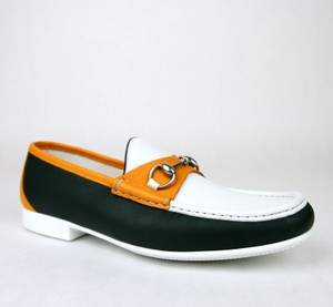 Gucci White Dark Green Orange Horsebit Men's Leather Loafer Moccasin 337060 Ayo70 8.5/Us 9.5 Shoes