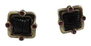 David Yurman SS/18k Quatrefoil Sculpted Black Onyx w/Ruby Accents