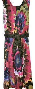 Tahari Abstract Print Knee Length V Neck Belted Dress