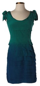 Madison Marcus short dress Green & Blue Silk Ombre Ruffle on Tradesy