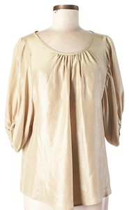 Steven Alan Silk Metallic Scoop Neck Top Gold