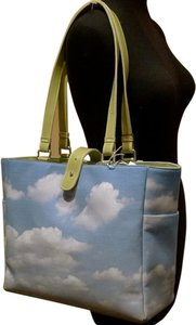 Annie C. Chapman Tote Screenprinted Blue/White/Green Diaper Bag