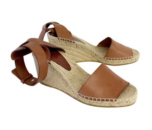 Vince Light Brown Leather Espadrille Wedges
