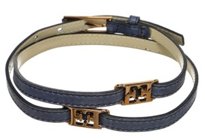 Escada Escada Blue Leather Skinny Belt (Size 38)