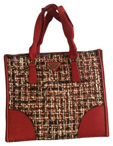 Prada Wool Ribbon Plaid Monogram Tote in Red, black, white