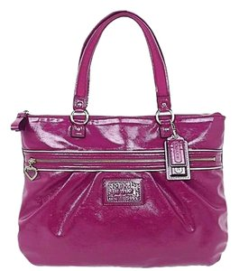 Coach Patent Leather Pink Large Glam Tote in Fuchsia
