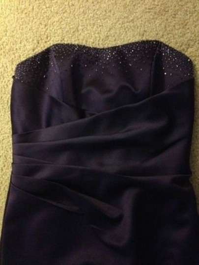 Alfred Angelo Eggplant Polyester Style #7027 Formal Bridesmaid/Mob Dress Size 4 (S)