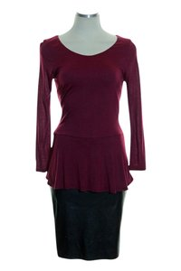 Velvet by Graham & Spencer short dress Maroon Knit Faux Leather Peplum on Tradesy
