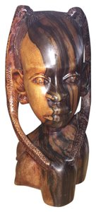 Nigerian Woman; Ebony Carved Bust [ SisterSoul Closet ]