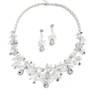 Mariell Rice Pearl And Crystal Wedding Jewelry Set