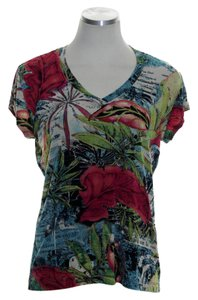 Chico's Knit Short Sleeve V-neck Top Mulitcolor