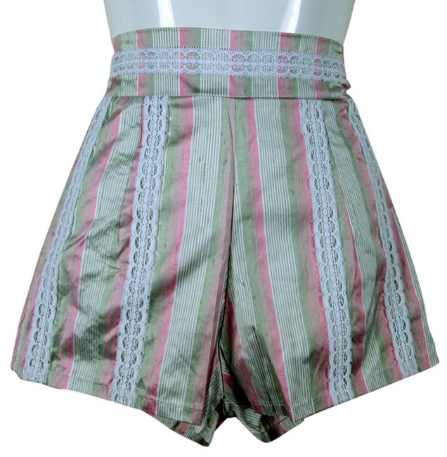 Lisa Nieves Boyfriend Spring Summer Silk Lace Trim Casual Party Chic Lace Striped Shorts Soft pink/white/lightgreen