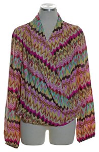 Haute Hippie Woven Printed Long Sleeve Top Multicolor