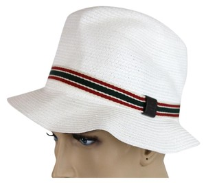 Gucci New Gucci White Straw Fedora Hat w/GRG Web Size S 309141 9599