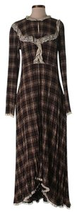 Brown Maxi Dress by Free People Lace Trim Plaid Longsleeve