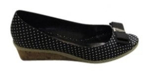 Etienne Aigner Black and White Polka Dot Wedges