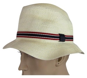 Gucci New Gucci White Straw Fedora Hat w/BRB Web Size M 309141 9570