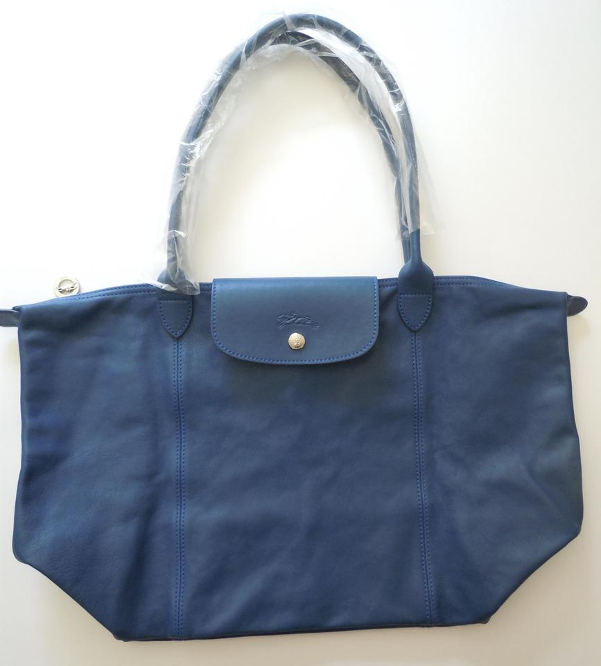 aaf0edd4ca28 Longchamp Le Pliage Cuir Nwot Large Made In France Blue Lambskin Leather  Tote