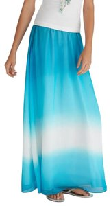 White House | Black Market Silk Dip Dye Long Ombre Maxi Skirt