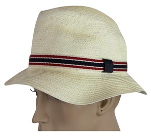 Gucci New Light Beige Straw Fedora Bucket Hat w/GRG Web Size L 309145 9571