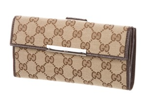 Gucci Brown tan Guccissima canvas Gucci Continental wallet