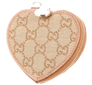Gucci Brown tan Guccissima canvas Gucci heart coin purse