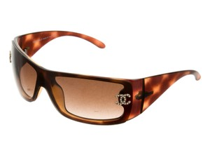 Chanel Brown tortoiseshell Chanel jewel CC logo shield sunglasses