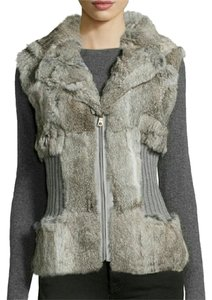 Neiman Marcus Rabbit Fur Grey Gray Zipper Vest