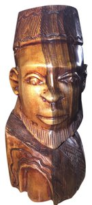 Nigerian Man; Ebony Carved Bust [ SisterSoul Closet ]