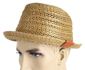 Gucci New Gucci Brown Straw Fedora Hat w/Trademark Logo Size L 337801 9679