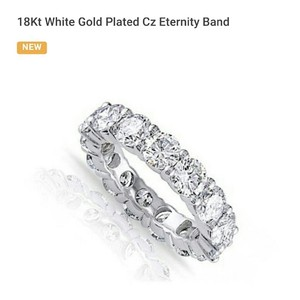 Eternity Band 18Kt White Gold Plated Cz Eternity Band