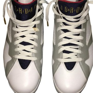 Air Jordan White, Blue, Red, And Gold Athletic