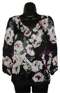 White House | Black Market Flowered Sheer Elastic Top Black with Tan & Purple Flowers