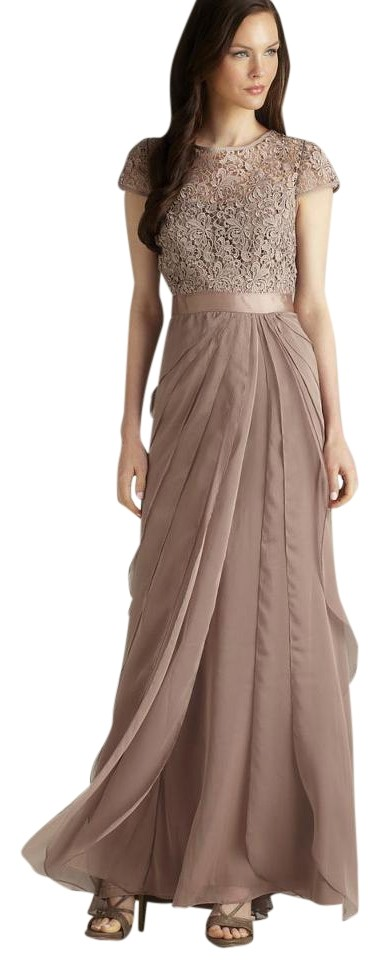 Adrianna Papell Brown New Lace & Flutter Gown Long Formal Dress Size ...