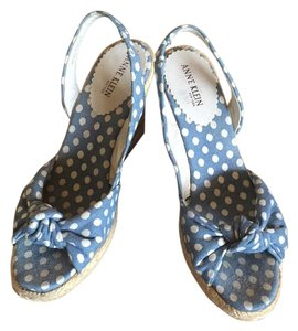 Anne Klein Blue with white pokka dots Wedges