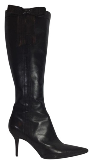 Chanel Leather Knee-high Pointed Toe Black Boots