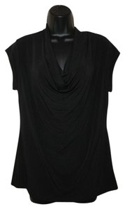 Adrienne Vittadini Pullover Draped Top Black