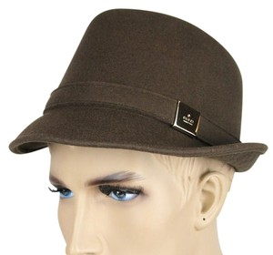 Gucci New Brown Wool Fedora Hat w/Silver Plaque Logo Size L 322289 2366