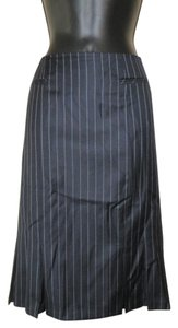 Brooks Brothers Pleated Back Zipper Lined Skirt Dark Blue with White Stripe