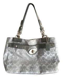 Coach Leather Canvas Satchel in Gray