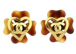 Chanel 95P Vintage Tortoise Resin Clover CC Clip On Earrings