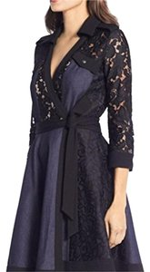 Diane von Furstenberg Lace Denim Wrap Dress